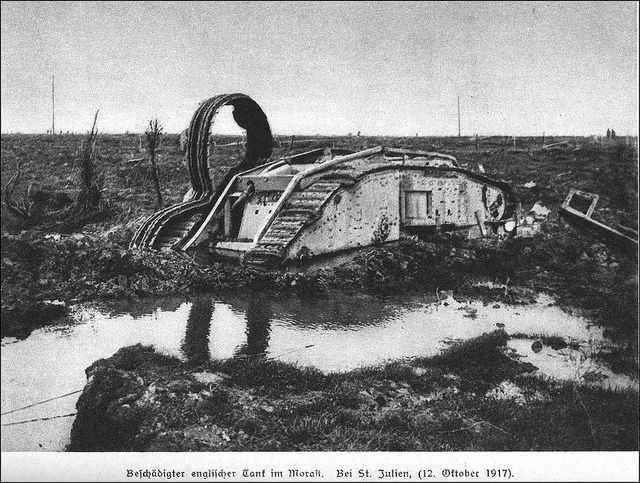 Flanders WW1    A British tank bogged down in the quagmire of the Ypres battlefield, near St Julien 12th October 1917. Who in their right mind could send tanks into a morass like this destroying both the machines and their crews for next to nothing?.