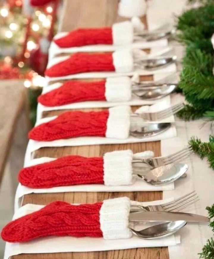 mini stocking table settings - love this idea! So cute!