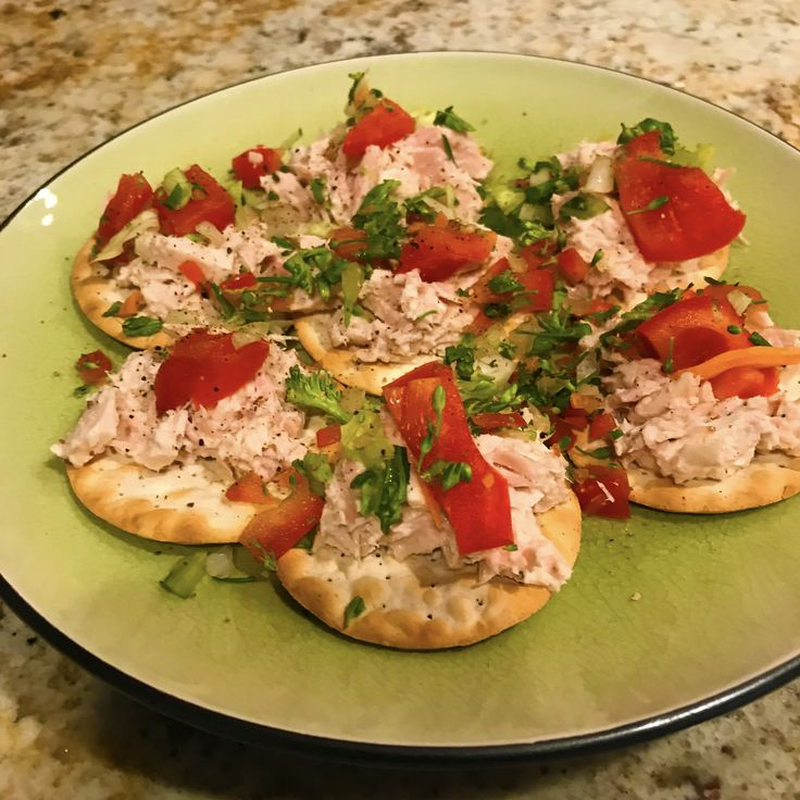 Get your cracker on! Albacore Tuna on cracker for a meal or snack share. Crackers are small plates for any topping you like but add veggies to get your daily servings of vegetables. Prep ahead and you are ready to go. This is a two minute plate for quick serve. Choose sustainable Pole caught packed in water for the best tuna.