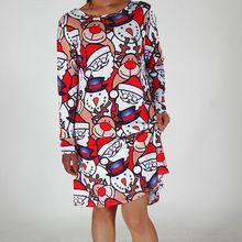 Sonbahar Güz Sevimli Noel Karakter Baskı A-line Elbise Kadınlar Casual Uzun Kollu diz boyu Gevşek T Shirt Elbiseler Büyük boyutu Robe(China (Mainland))