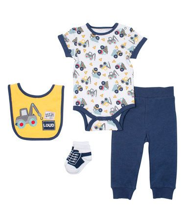 Another great find on #zulily! Navy & Yellow Tow Truck Bodysuit & Pants Set #zulilyfinds