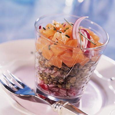 Salade de lentilles vertes au saumon fumé