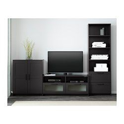 This TV storage combination has plenty of extra storage and makes it easy to keep your living room organized. Cable outlets make it easy to lead cables and cords out the back so they're hidden from view but close at hand when you need them. Smooth-running drawers with drawer stops to keep them in place. Adjustable shelves, so you can customize your storage as needed.