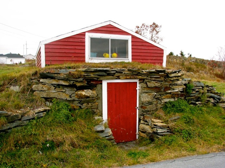 "(B. says, ""Ignore the house; cellar is GREAT!"") - red cellar in Conception Bay, Newfoundland"
