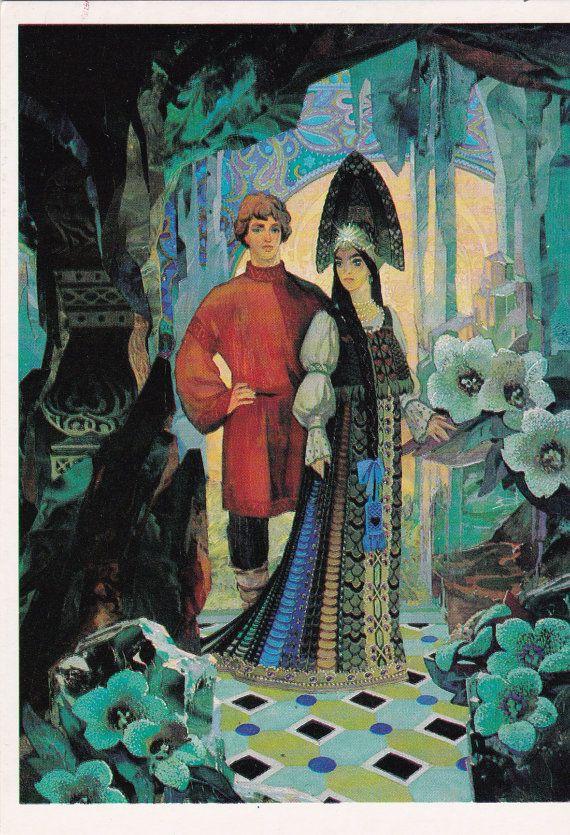 Pavel Bazhov illustration print The Malachite by SovietPostcards