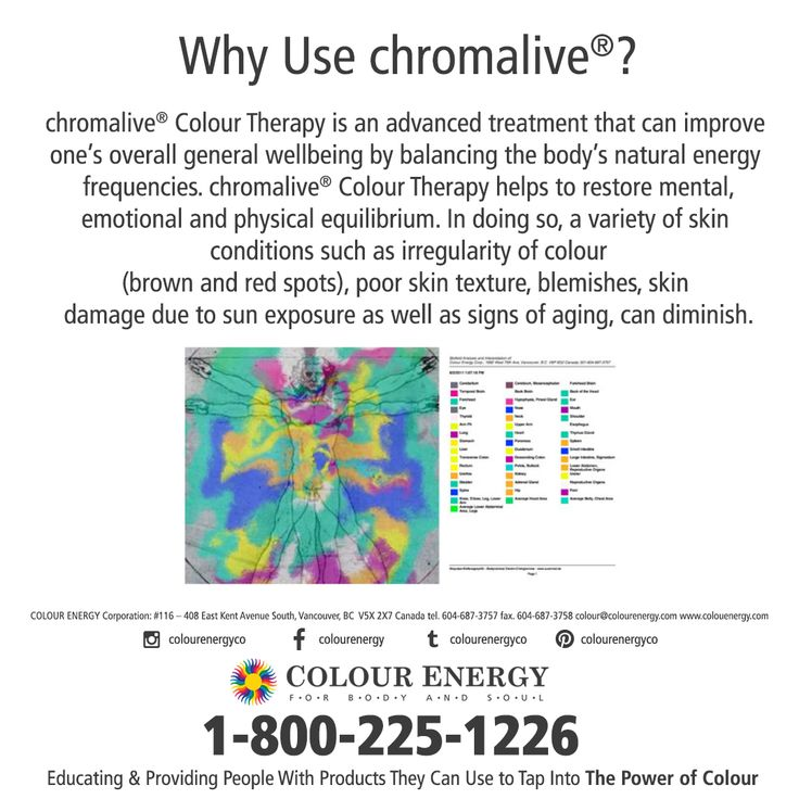 Why Use chromalive®? chromalive® Colour Therapy is an advanced treatment that can improve one's overall general wellbeing by balancing the body's natural energy frequencies.  COLOUR LIGHT THERAPY, 2-DAY WORKSHOP FEBRUARY 19-20, 2018 Call 1-800-225-1226 x511 #colourenergy