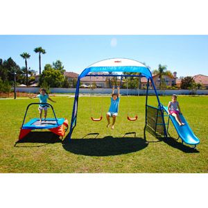 IronKids Inspiration 250 Fitness Playground Metal Swing Set...may have to get this for the the size of our backyard...pretty small