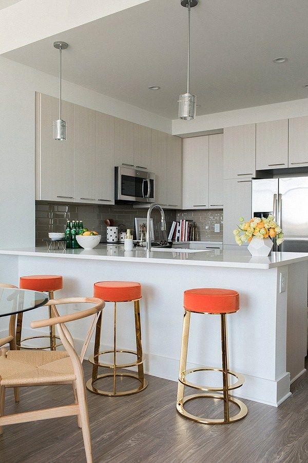 Orange velvet bar stools | Hospality Design. Hospitality contract. Velvet Bar Stool. | #hospitalitydesign #velvetbarstool #hospitalityprojects | For more : www.brabbu.com/en/inspiration-and-ideas/category/world-travel/restaurant-bar