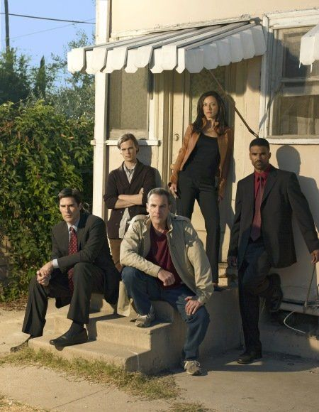 Still of Mandy Patinkin, Shemar Moore, Lola Glaudini and Matthew Gray Gubler in Criminal Minds