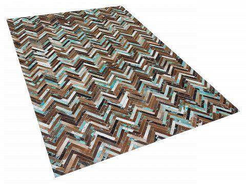 Tapijt bruin-beige-blauw - 160x230 cm - patchwork - leren tapijt - karpet - vloerkleed - AMASYA_515916