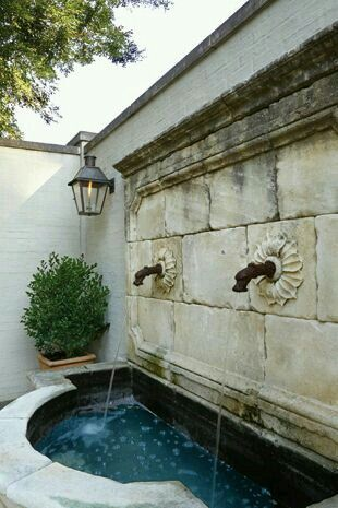 Co Co's Collection : Formal garden # structure # roses # boxwood Roman styled fountain creates tranquility