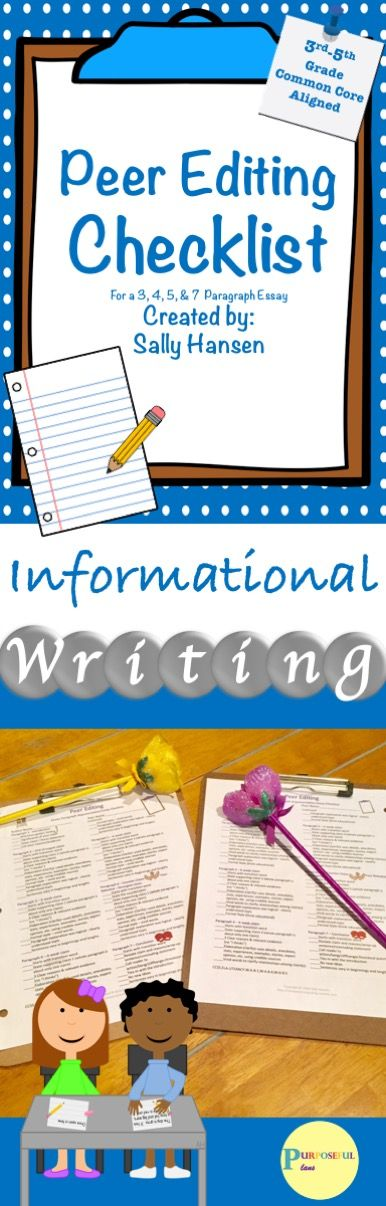 Informative/Explanatory Writing Peer Editing Checklists CCSS Aligned for 3-5 #Ccss #Writing #LanguageArts #Informational #Explanatory #Essay #Elementary #Education #Peer #Edit #Tpt #PurposefulPlans