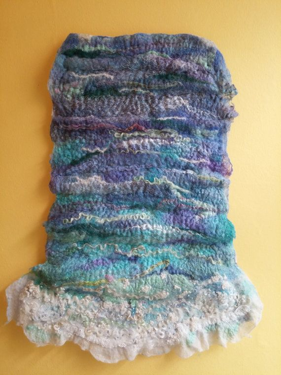 This gorgeous ocean waves wall hanging is made from a lustrous blend of fine merino wool and silks in shades of turquoise, blue, teal, white, Blyth Whimsies
