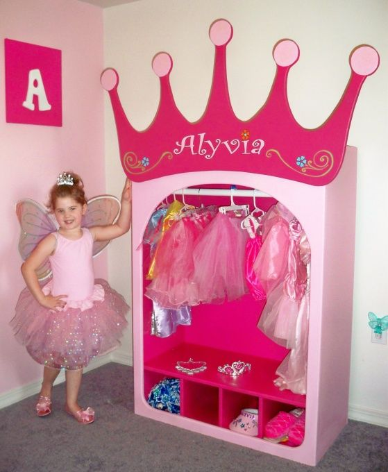 can feel like a Princess with these unique designs.  Hours of fun and play.  See more at our new site www.neverlandthemebeds.com, PRINCESS DRESS (age 4).  She loves to dress up and has about 30 different dress up clothes and accesories.  SO, we cerated this Princess Dress Up Wardrobe for her.  It has a rod for her dress up clothes and it is right perfect for her to get what she needs.  The bottom area is for her accesories like shoes, jewlery and hats.   , Girls Rooms Design