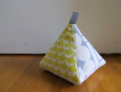 Pyramid Doorstop - Yellow & Grey Geometric Prints on Linen | Felt