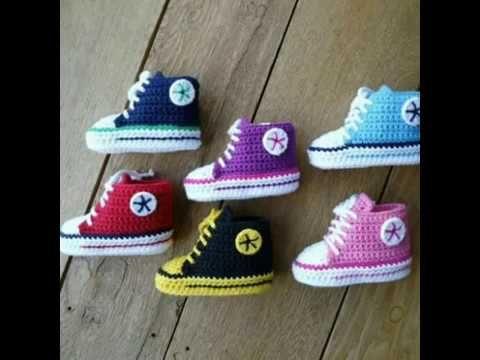 Zapatitos tejidos a crochet para bebé (niño) - YouTube