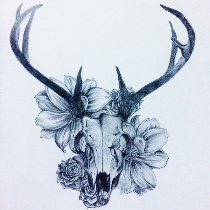 Deer Skull Flowers This Is Exactly What I Want At The Base Of My Feathers On My Left Calf Antler Tattoos Animal Skull Tattoos Body Art Tattoos