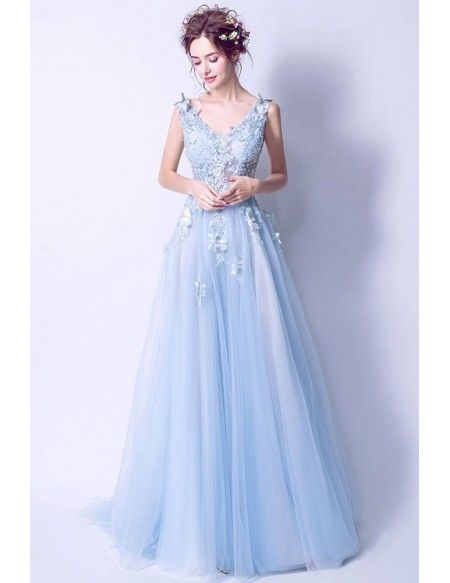 1f464195ff2 Elegant Light Blue V Neck Prom Dress Long With Butterfly Lace Beading