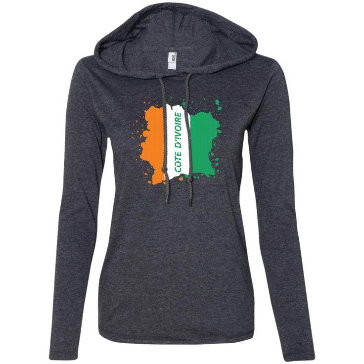 Ivory Coast Coat Of Arms T Shirt National Cote d'Ivoire-01 887L Anvil Ladies' LS T-Shirt Hoodie