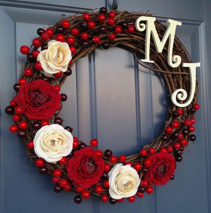 unique wreaths for front door   Winter Personalized Silk Flower Front Door Wreath by silksnsuch
