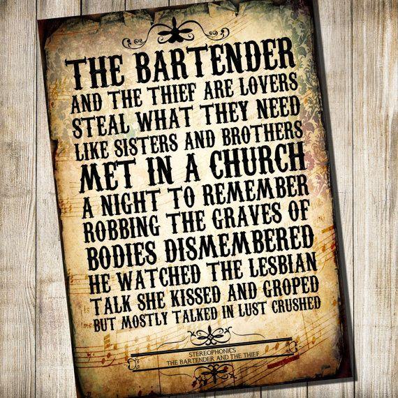Stereophonics - Bartender & The Thief Lyrics | MetroLyrics