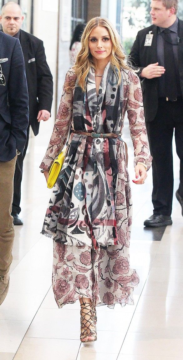 Olivia Palermo in a bohemian maxi dress and belted scarf.