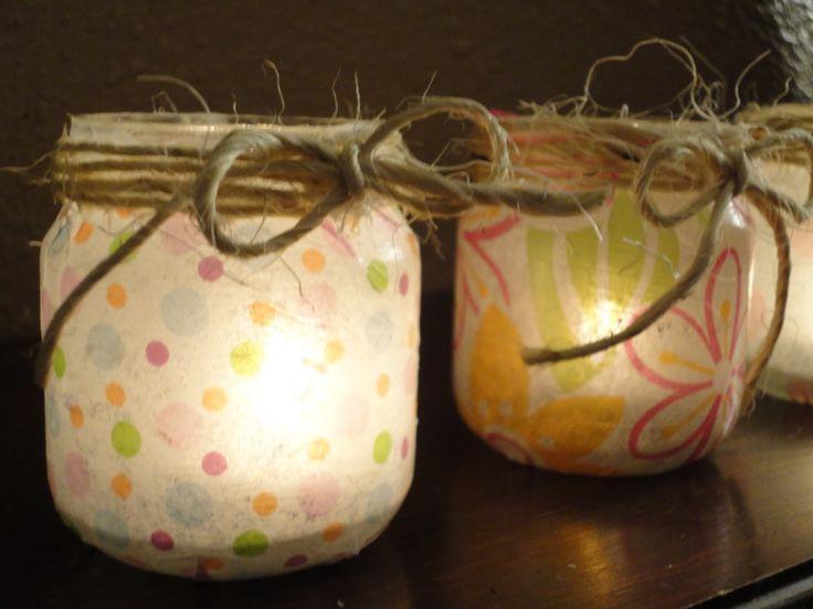 Babyfood jar luminaries. Instructions here: http://richestoragsbydori.blogspot.com/2012/01/flameless-baby-food-jar-luminaries.html