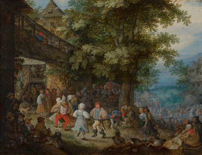 Peasants Dancing outside a Bohemian Inn | 1610 | Mauritshuis | Public Domain Marked