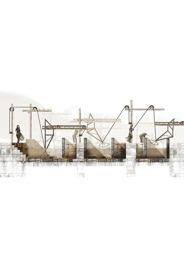 What about sleeping beauty? by Hugo Reichmann 3 Laundry Cranes 2012 16.53″ x 23.38″ Rhino, hand drawing, Photoshop