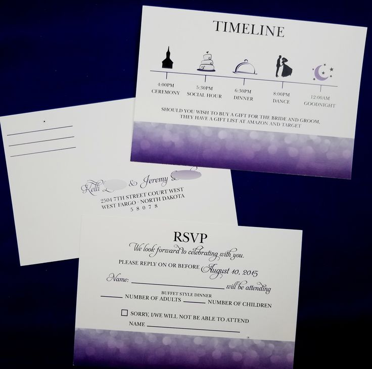 wedding reception directions card%0A Purple rsvp w timeline