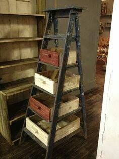 Want to do with thrift store ladder and drawers and graduated shades of blue paint
