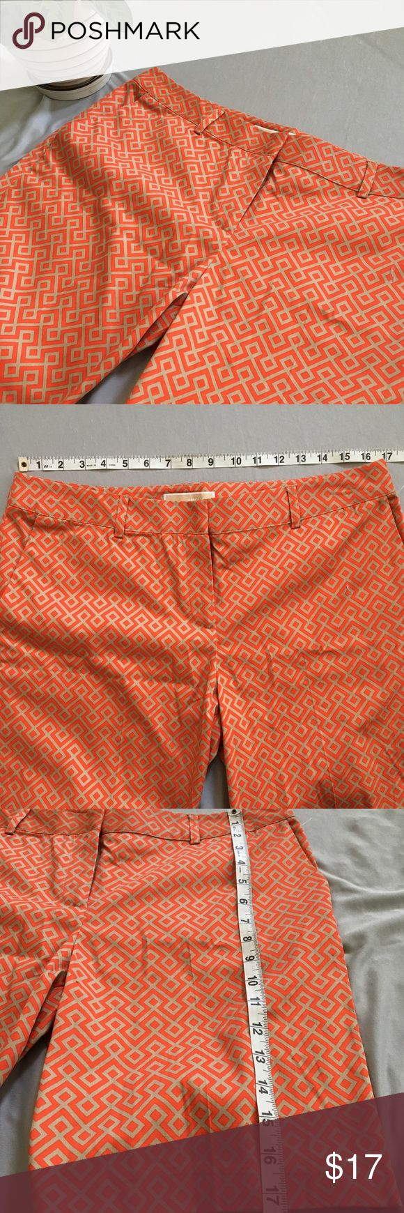 Michael Kors Patterned Shorts -Orange and tan patterned shorts.  -NWOT -The is one small imperfection located on the leg of the shorts (Close up Picture of Pattern shows the imperfection) Michael Kors Shorts