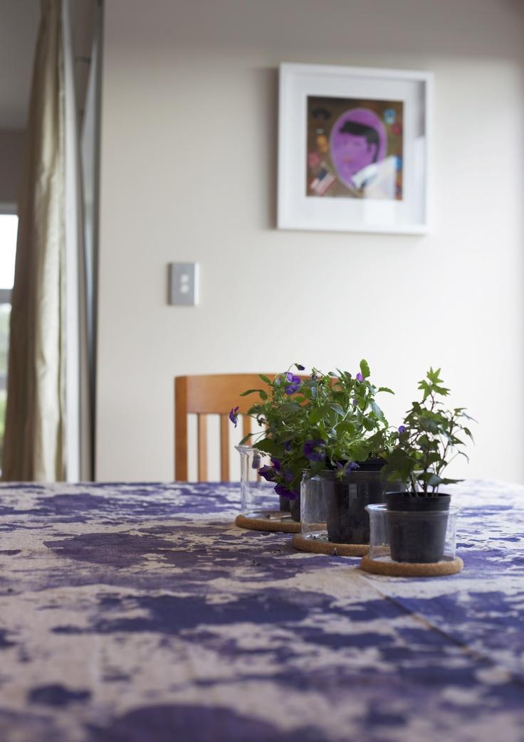The elvis print #endemicworld set the purple coloursheme for the dining area