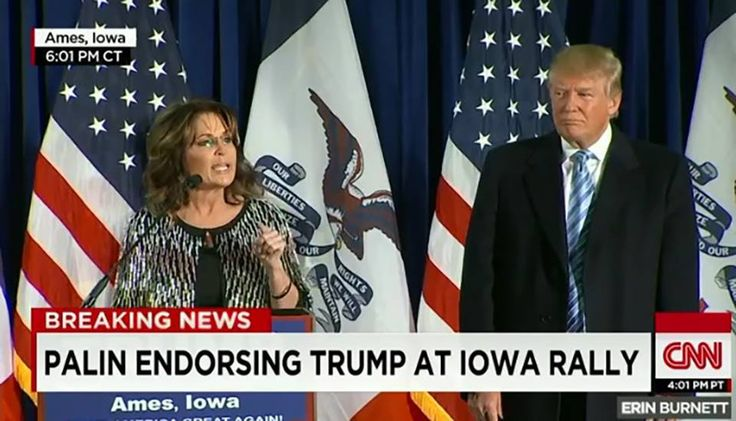 Sarah Palin joined Donald Trump in Iowa, where she gave him her endorsement. In the 2012 election cycle, an endorsement from Sarah Palin was a death sentence. Polls revealed that voters were less l…
