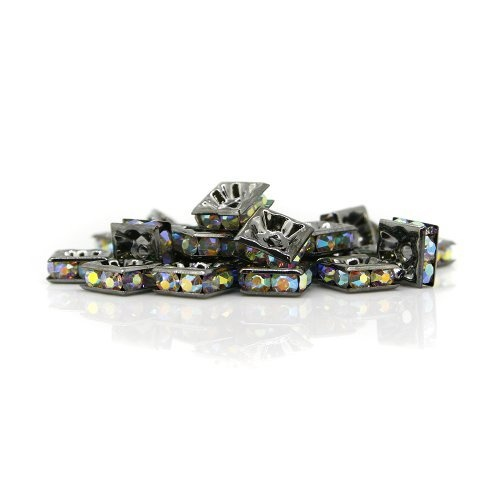 100 Pcs Swarovski Crystal Rhinestones 8mm Square Spacer Parts Beads for Jewelry Bracelet and Necklace (101B Crystal AB (Black Plated)) Brazlet - Natural by Handmade,http://www.amazon.com/dp/B00D035EIW/ref=cm_sw_r_pi_dp_FX-Srb1RGP0E5M15