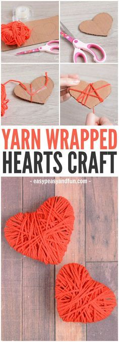 DIY Craft: A cute and colorful easy yarn heart craft! A perfect fine motor skill for you preschooler to work on this Valentine's Day!