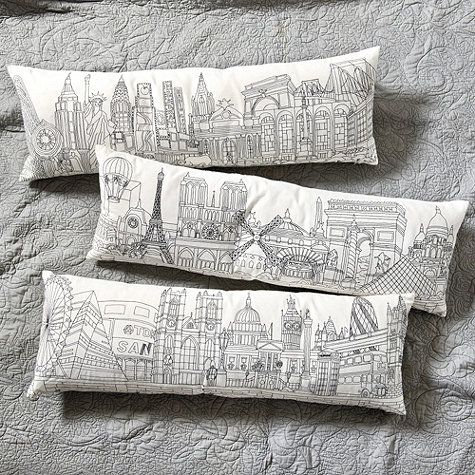 Paris vs new york themed room: Embroidered City Skyline Pillow | Ballard Designs $75