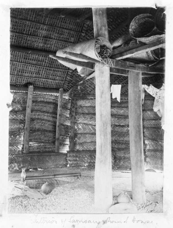 Interior of a house, Samoa. Photograph taken circa 1880s-1890s. Woven screens and mats are visible. Photographer unidentified