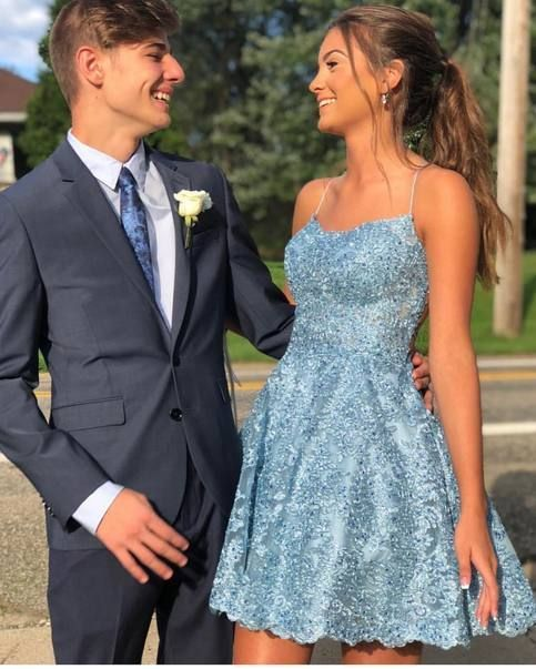 Fancy Sky Blue Lace Homecoming Dresses,Spaghetti Straps Homecoming Dresses,A-lin…