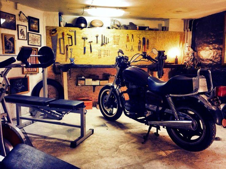 man cave male sanctuary motorcycle garage honda home gym workshop moto cafe racer. Black Bedroom Furniture Sets. Home Design Ideas