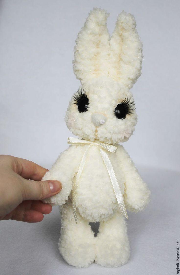 Купить Зайчик вязаный 30 см (игрушки, вязаные крючком) - белый, зайка, заяц, зайчик