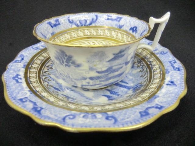 Broseley pattern with gilt patterned bands  I drink a great deal of hot tea and think this cup and saucer would make it special. I'm usually sipping from a mug.