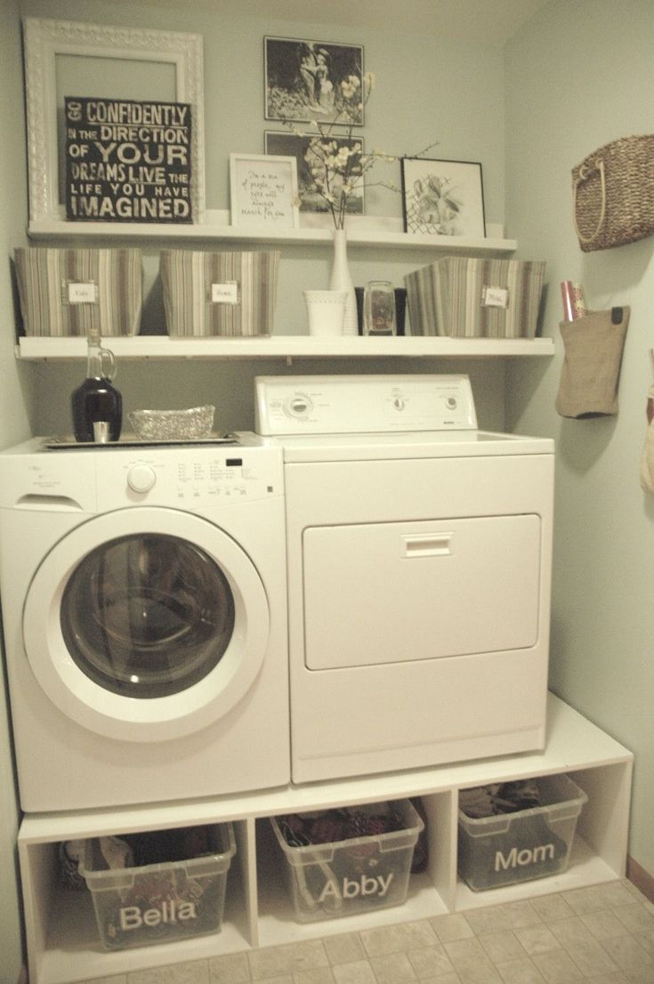 Decoration Very Small Spaces After Makeover Old Laundry Room Design With DIY Wood Pedestal Front Loading Washer And Dryer As Dirty Clothes Storage Plus