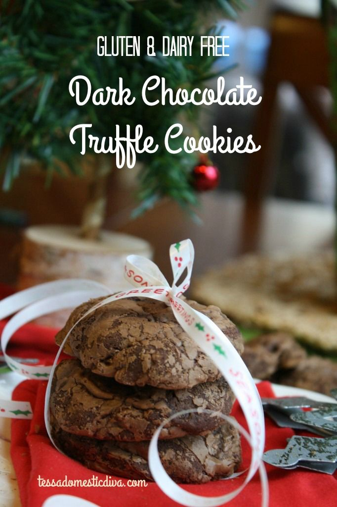 Dark Chocolate Truffle Cookies - Gluten & Dairy Free #glutenfree #dairyfree #cookies #Christmas #chocolate