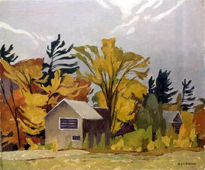 """Tom Thomson's Shack,"" A.J. Casson, 1962, oil on board, McMichael Canadian Art Collection."