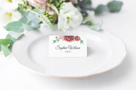 Floral Wedding Place Card Place Card template Printable