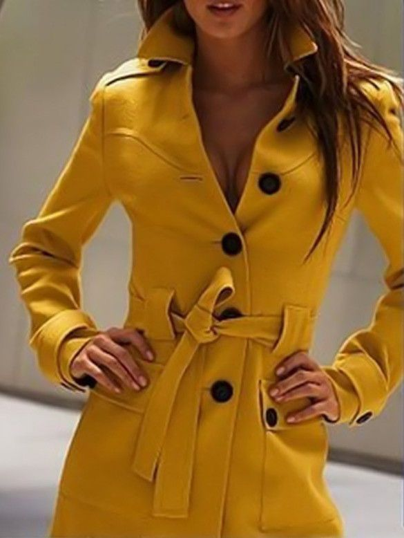 Women's Wool Blend Slim Military Trench Belted Long Coat