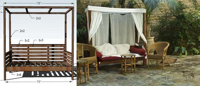 DIY outdoor daybed with canopy. yes please with fairy lights too please