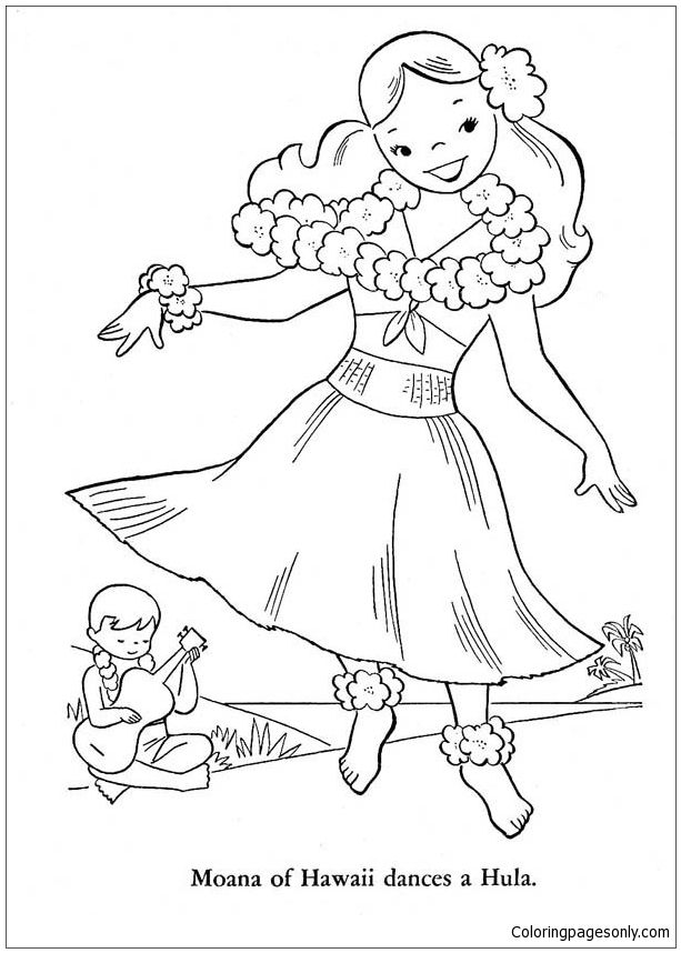 Moana Of Hawaiian Dances A Hula Coloring Page Moana Coloring
