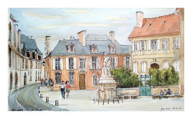 Place devant le Palais Jacques Coeur de Bourges, croquis de Guy Moll